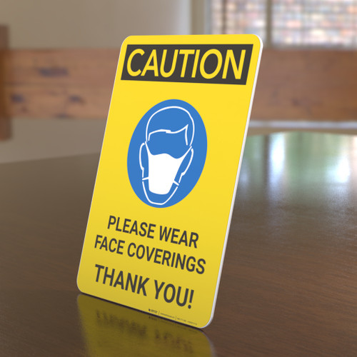 Caution: Please Wear Face Coverings with Icon Portrait - Desktop Sign