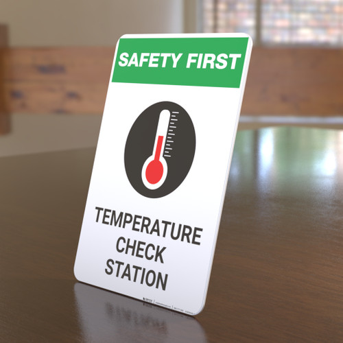 Safety First: Temperature Check Station with Icon Portrait - Desktop Sign