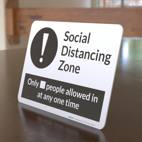 Social Distancing Zone with Exclamation Mark Landscape - Desktop Sign