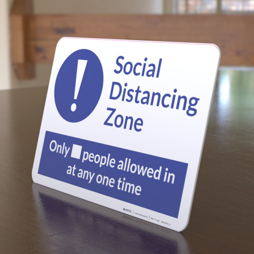 Social Distancing Zone Maximum People Allowed Blue with Exclamation Point Landscape - Desktop Sign