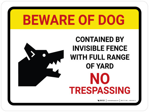 Beware Of Dog Contained By Invisible Fence Landscape - Wall Sign