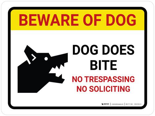 Beware Of Dog Dog - Does Bite No Trespassing Landscape - Wall Sign