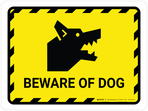 Beware Of Dog Yellow Landscape - Wall Sign