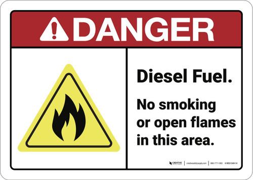 Danger: Diesel Fuel No Smoking ANSI - Wall Sign