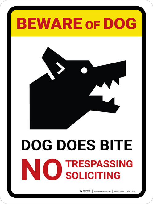 Beware Of Dog Dog Does Bite No Trespassing Portrait - Wall Sign