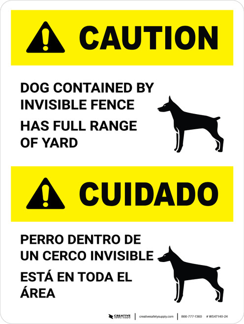 Caution: Ansi Dog Contained By Invisible Fence Bilingual Portarit - Wall Sign