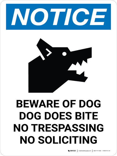 Notice: Beware Of Dog Dog Does Bite No Trespassing Portrait - Wall Sign