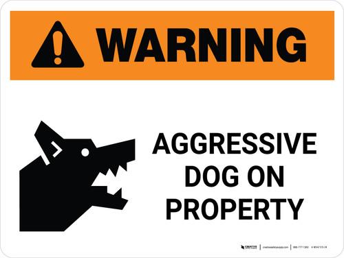 Warning: Aggressive Dog On Property Landscape - Wall Sign