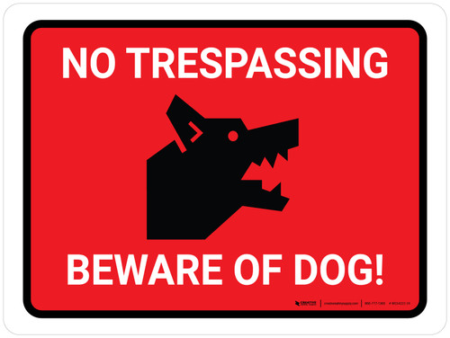 No Trespassing - Beware Of Dog Red Landscape - Wall Sign