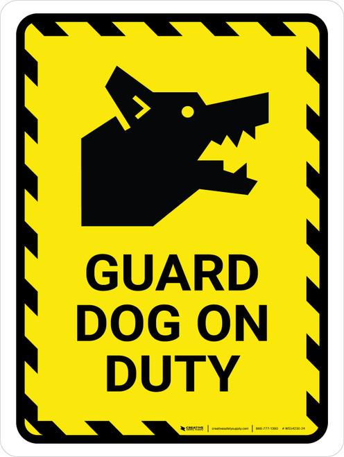 Guard Dog On Duty Yellow Hazard Portrait - Wall Sign