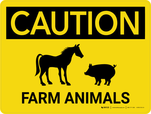 Caution: Farm Animals Horse And Pig Icons Landscape - Wall Sign