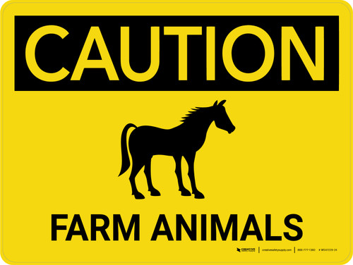 Caution: Farm Animals Horse Icon Landscape - Wall Sign