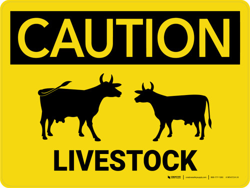 Caution: Livestock with Cow Icons Landscape - Wall Sign