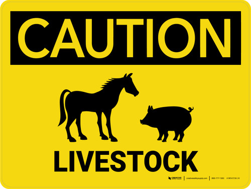 Caution: Livestock with Horse and Pig Icons Landscape - Wall Sign