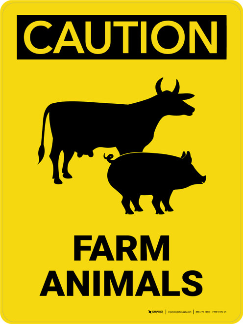 Caution: Farm Animals with Cow and Pig Icons Portrait - Wall Sign