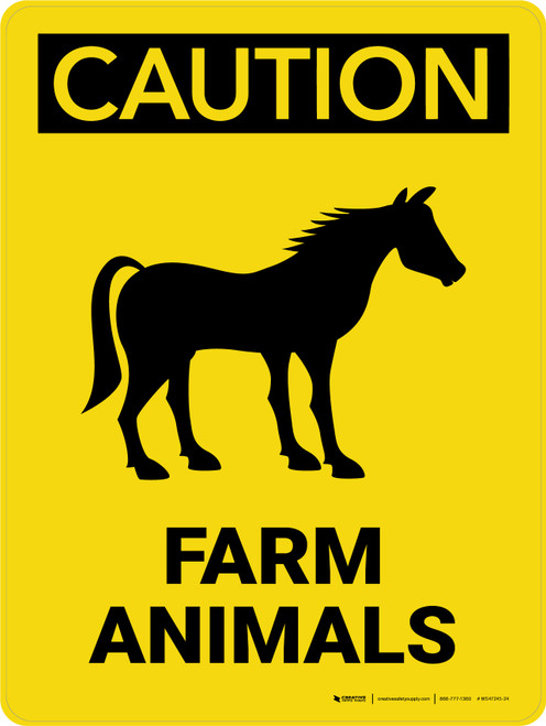 Caution: Farm Animals with Horse Icon Portrait - Wall Sign