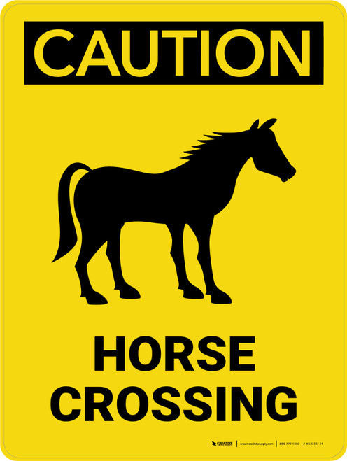 Caution: Horse Crossing with Icon Portrait - Wall Sign