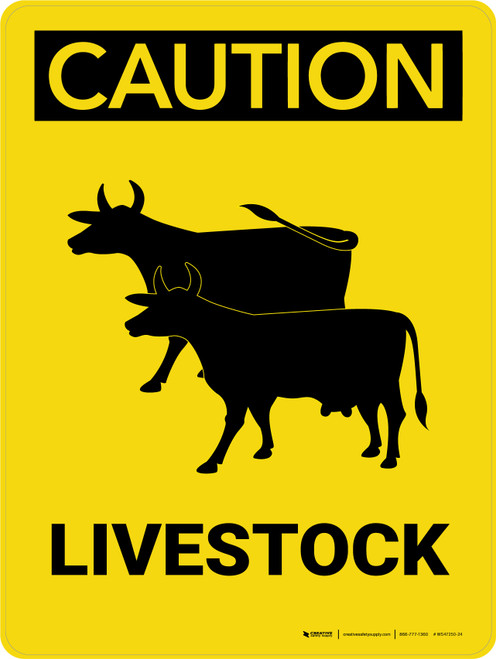 Caution: Livestock with Cow Icons Portrait - Wall Sign