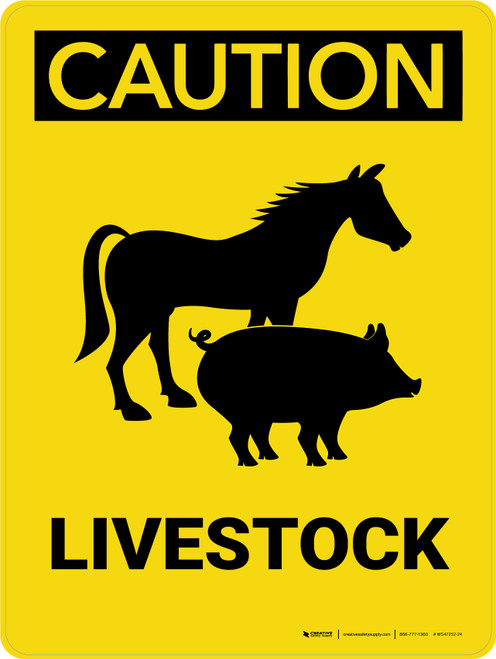 Caution: Livestock with Horse and Pig Icons Portrait - Wall Sign