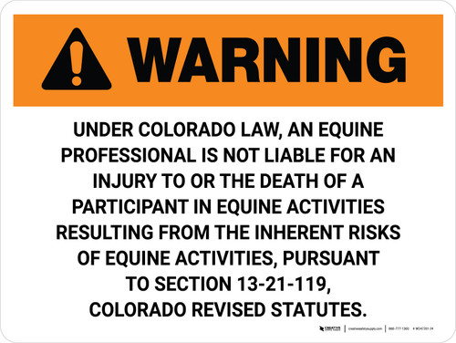 Warning: Colorado Equine Activity Sponsor Not Liable Landscape - Wall Sign