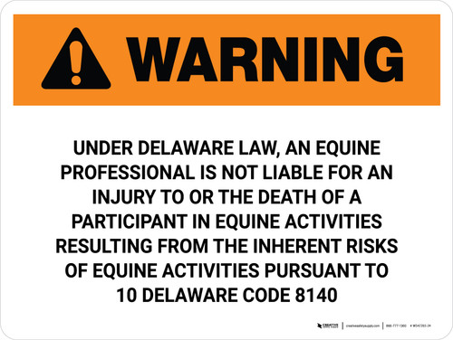 Warning: Delaware Equine Activity Sponsor Not Liable Landscape - Wall Sign