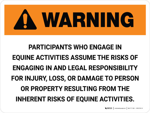 Warning: Equine Activities Assume The Risks And Legal Landscape - Wall Sign