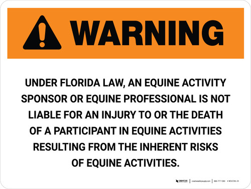 Warning: Florida Equine Activity Sponsor Not Liable Landscape - Wall Sign