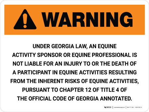 Warning: Georgia Equine Activity Sponsor Not Liable Landscape - Wall Sign