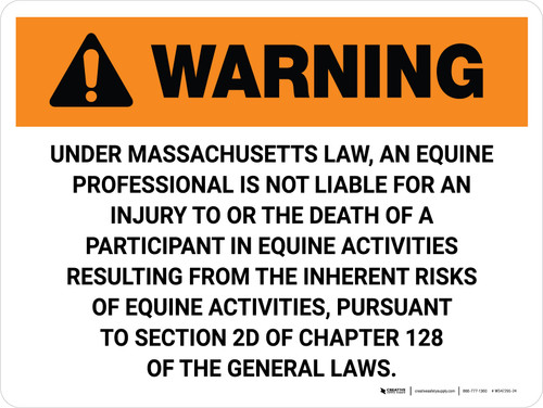 Warning: Massachusetts Equine Activity Sponsor Not Liable Landscape - Wall Sign
