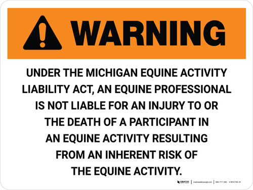 Warning: Michigan Equine Activity Sponsor Not Liable Landscape - Wall Sign