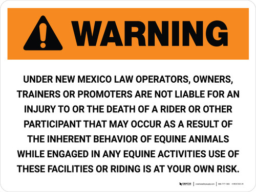 Warning: New Mexico Equine Activity Sponsor Not Liable Landscape - Wall Sign