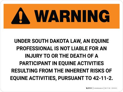 Warning: South Dakota Equine Activity Sponsor Not Liable Landscape - Wall Sign