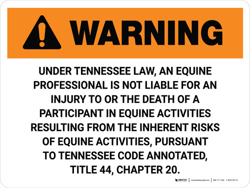 Warning: Tennessee Equine Activity Sponsor Not Liable Landscape - Wall Sign
