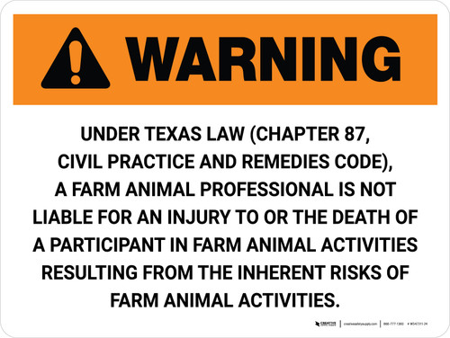 Warning: Texas Farm Animal Professional Is Not Liable Landscape - Wall Sign