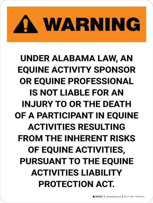 Warning: Alabama Equine Activity Sponsor Not Liable Portrait - Wall Sign