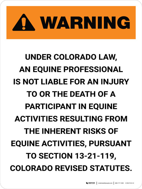 Warning: Colorado Equine Activity Sponsor Not Liable Portrait - Wall Sign