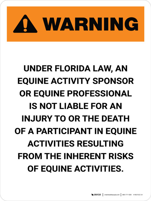 Warning: Florida Equine Activity Sponsor Not Liable Portrait - Wall Sign