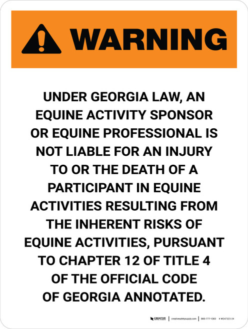 Warning: Georgia Equine Activity Sponsor Not Liable Portrait - Wall Sign