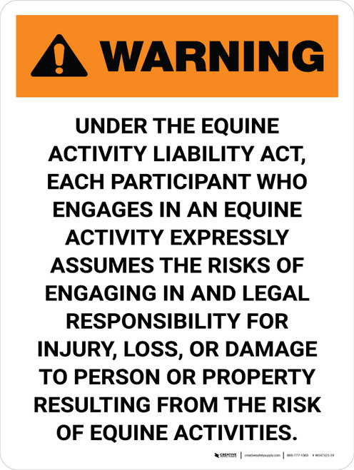 Warning: Illinois Equine Activity Liability Act Portrait - Wall Sign