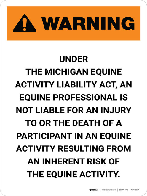 Warning: Michigan Equine Activity Sponsor Not Liable Portrait - Wall Sign
