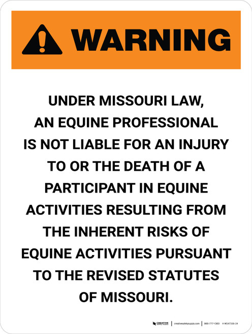 Warning: Missouri Equine Activity Sponsor Not Liable Portrait - Wall Sign
