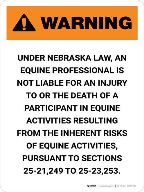 Warning: Nebraska Equine Activity Sponsor Not Liable Portrait - Wall Sign