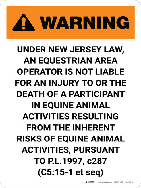 Warning: New Jersey Equestrian Area Operator Is Not Liable Portrait - Wall Sign