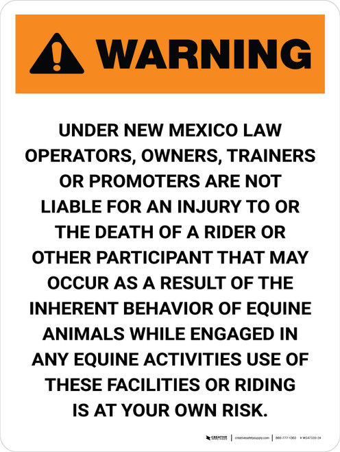 Warning: New Mexico Equine Activity Sponsor Not Liable Portrait - Wall Sign