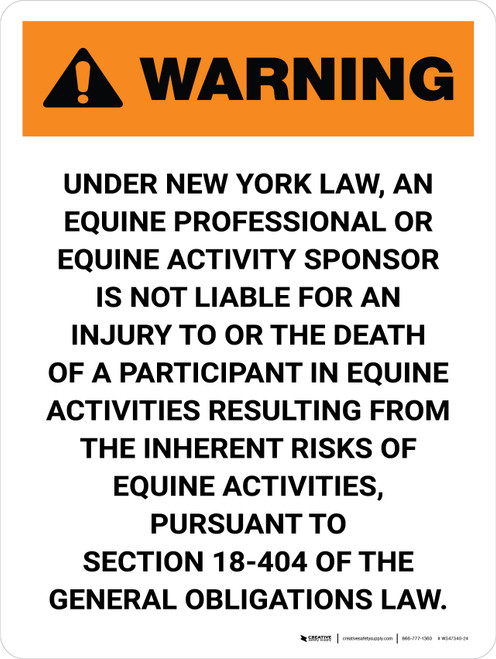 Warning: New York Equine Professional Not Liable Portrait - Wall Sign