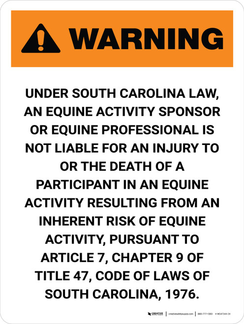 Warning: South Carolina Equine Activity Sponsor Not Liable Portrait - Wall Sign