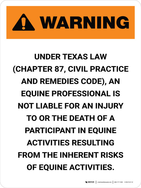 Warning: Texas Equine Professional Is Not Liable Portrait - Wall Sign