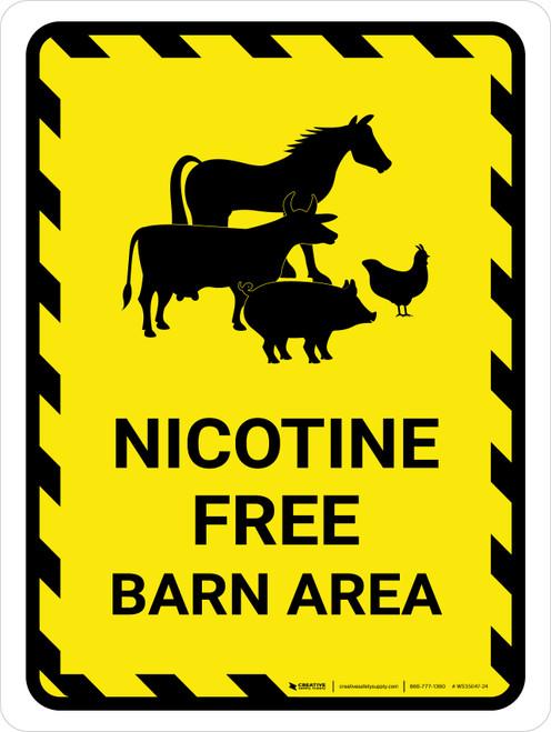 Nicotine Free Barn Area With Animal Icons Portrait - Wall Sign