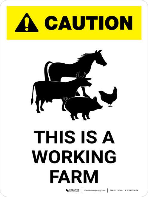 Caution: This Is A Working Farm Animal Icons White Portrait - Wall Sign