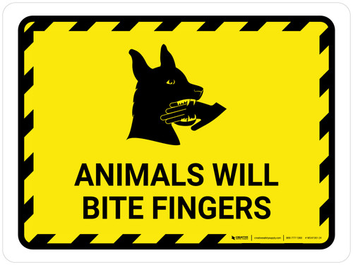 Animals Will Bite Fingers with Icon Hazard Landscape - Wall Sign
